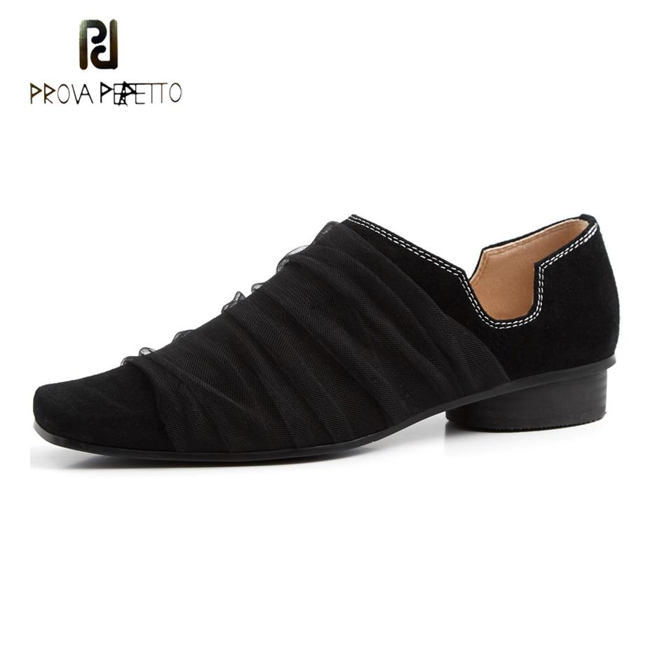 Prova Perfetto 2019 new design square toe single shoe women loafers mesh slip on low heel