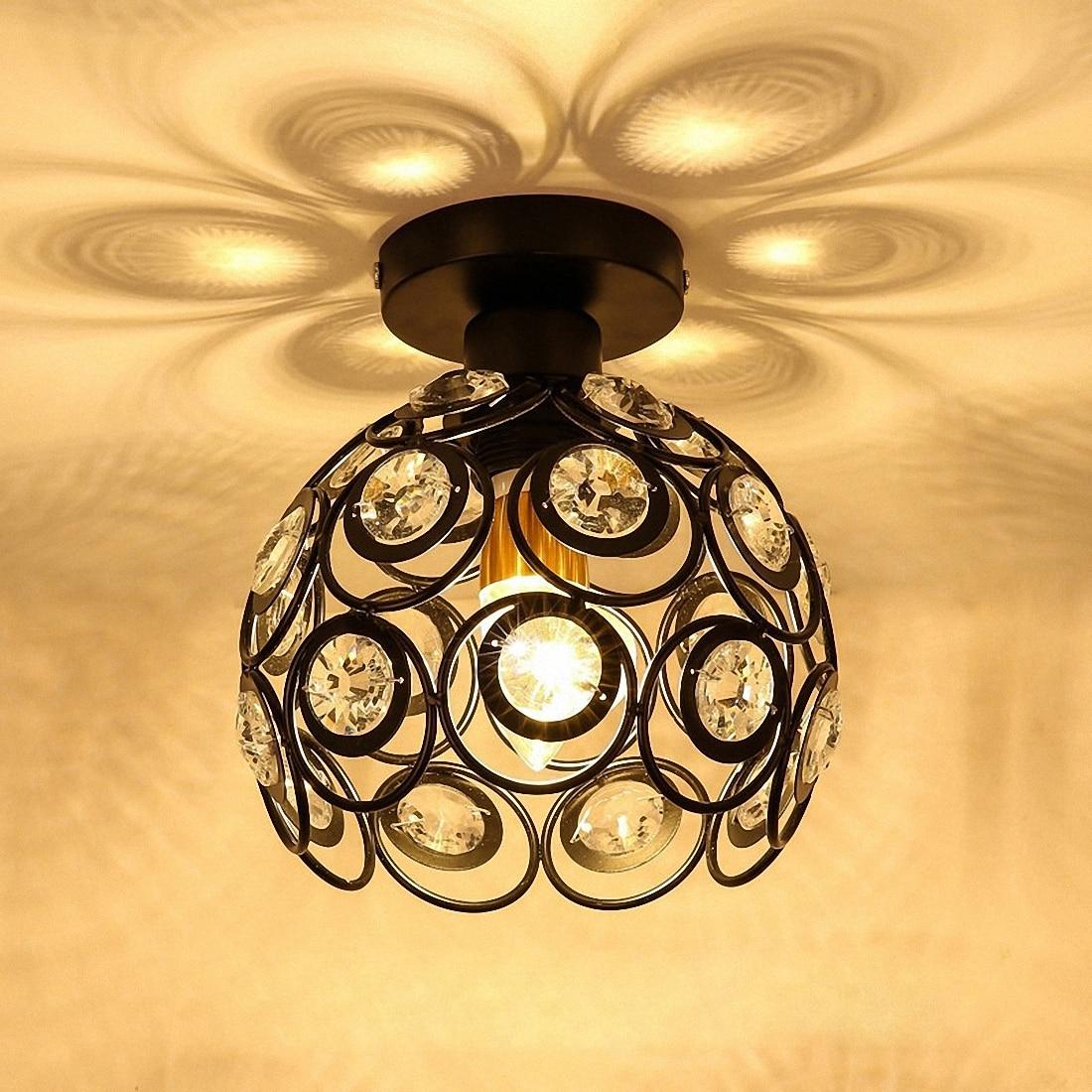 HTB1oLZ.cUR1BeNjy0Fmq6z0wVXaX E27 black Creative crystal minimalist ceiling light Single wall ceiling lamp bedroom lamp Single European iron lamp Crystal la