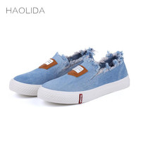 Haolida 2017 Autumn New Canvas Shoes Ladies Korean Version Of The Tide Stripe Shallow Mouth Flat