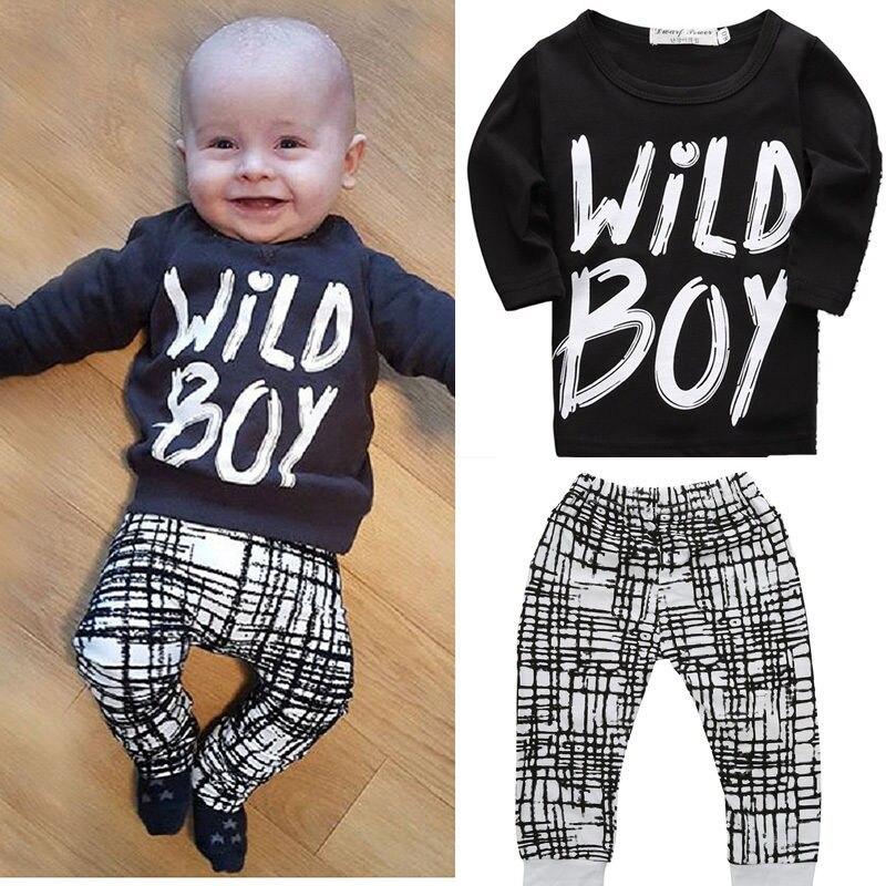 Hot Newborn Baby Kids Boys Wild Boy Letter Long Tops Plaid Pants