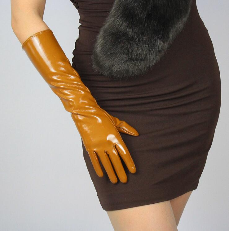 Women's Fashion Sexy Slim Faux Pu Leather Glove Lady's Club Performance Formal Party Patent Leather Long Glove 40cm R603