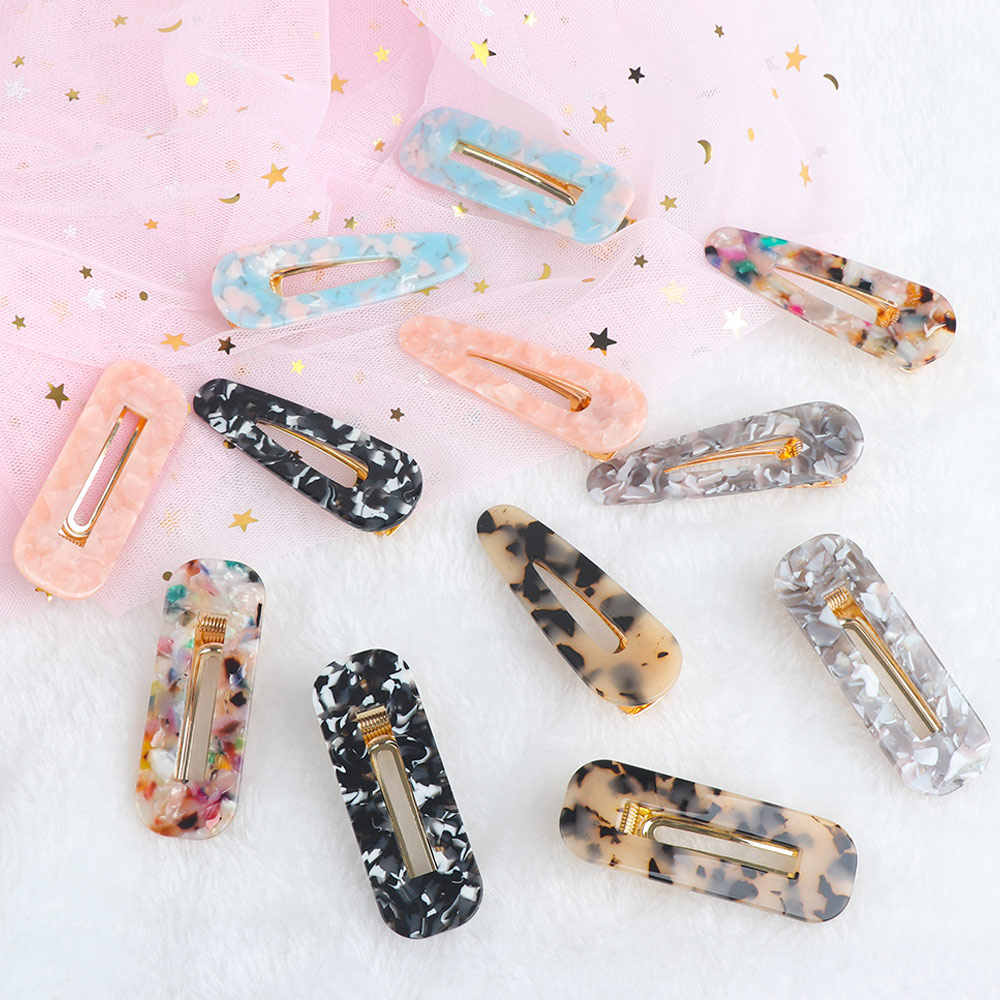 Geometric Acrylic Hair Clips Vintage Leopard Hair Pin Rectangle Water Drop Acetate Women Hair Jewelry Accessories
