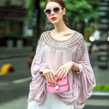 2017 Women Blouses Top Casual Sexy Perspective Shirt Streetwear Runway Ladies Summer Streetwear Beach Tops Office Pink Shirts