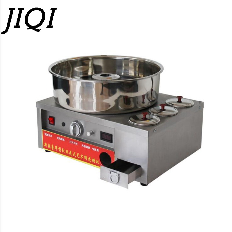 JIQI Luxury fancy Commercial gas cotton candy maker candyfloss DIY sugar floss flower type Cotton Candy machine stainless steel
