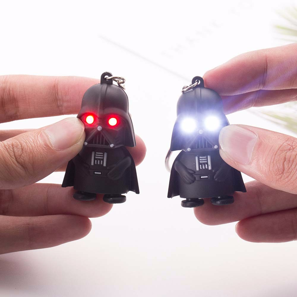 VKME 2018 Star Wars Keyring Light Black Darth Vader Pendant LED KeyChain For Man Gift