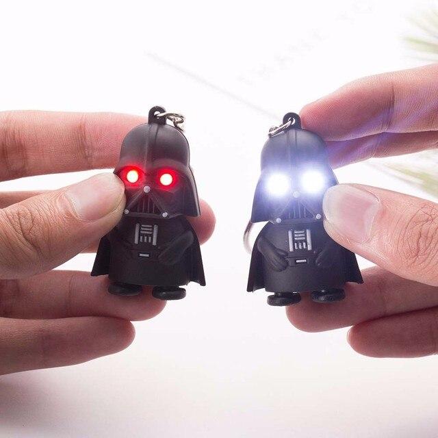 VKME 2018 Star Wars Keyring Light Black Darth Vader Pendant LED KeyChain For Man Gift
