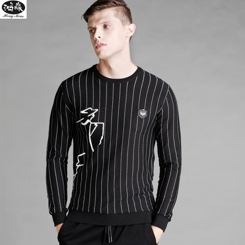 2018 Men Autumn Sweaters New Striped O-neck Long-sleeves Knitted Slim Pullover High Quality Mens Black Sweater Tops