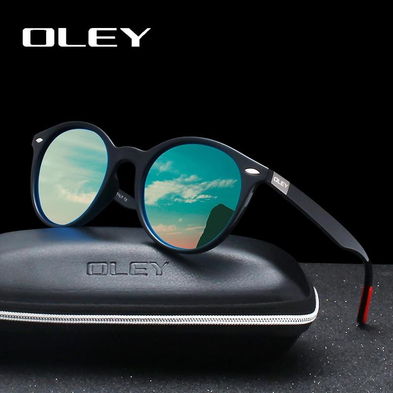 OLEY Polarized Sunglasses Rivet Custom-Logo Classic Circular-Design Fashion Retro Women