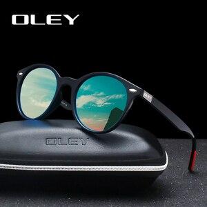Мужские и женские солнцезащитные очки OLEY, классические поляризационные очки в стиле ретро с заклепками и круглым дизайном, 100% защита UV400, ин...