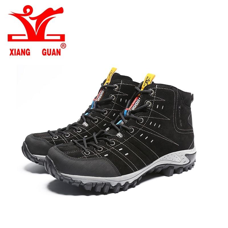 ФОТО 2017 XIANGGUAN Hiking Boots Outdoor Sneakers Suede Mountain male black Climbing Camping Shoes High Cut Trekking Shoes for man