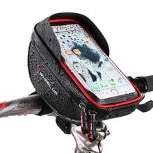 цена на Bike Bicycle Phone Bag Rainproof Microfiber Touch Screen Cell Phone Holder Bicycle Handlebar Bags MTB Frame Pouch Bag