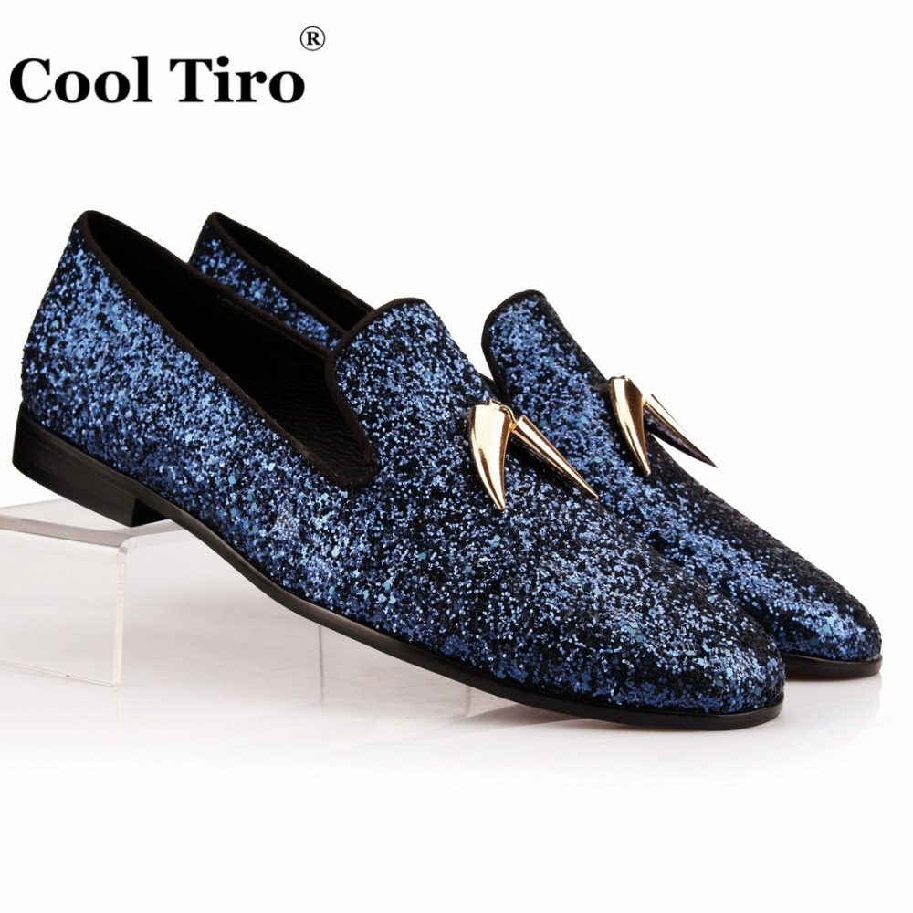 Navy Blue And Gold Glitter Shoes