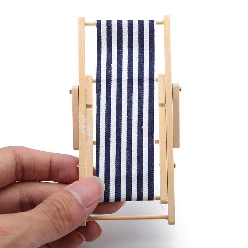 Cadeira Dobrável de Praia Em Miniatura casa de bonecas Mobiliário de Jardim de Fadas Deck Escala 1:12 Miniaturas Fornecimento de Decorações de Resina Linda Praia