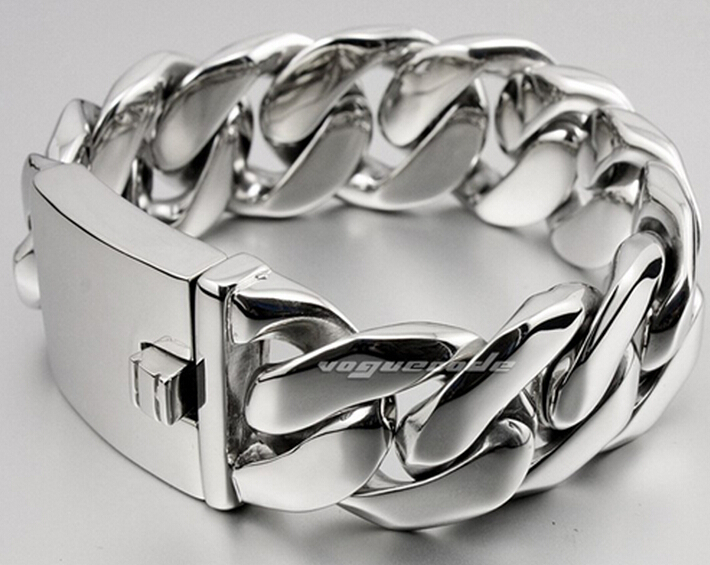 Urban Jewelry Stainless Steel Men Charm Cuban Curb Link Bracelet