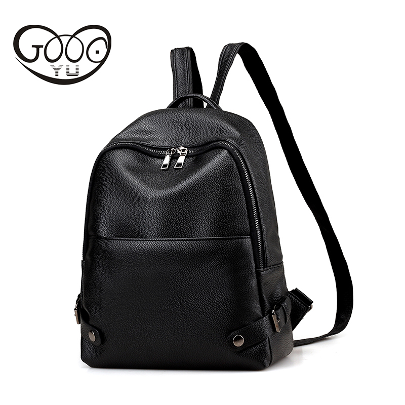 Leather backpack women luxury brand Fashion litchi pattern street simple solid color backpacks for teenage girls