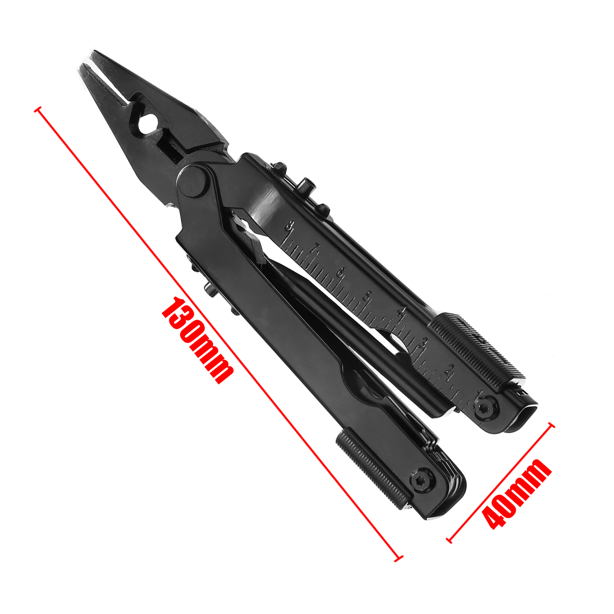 1pc 12 in 1 Portable Outdoor Survival Tool Stainless Steel Multifunction Tool Folding Plier Black High Quality in Pliers from Tools
