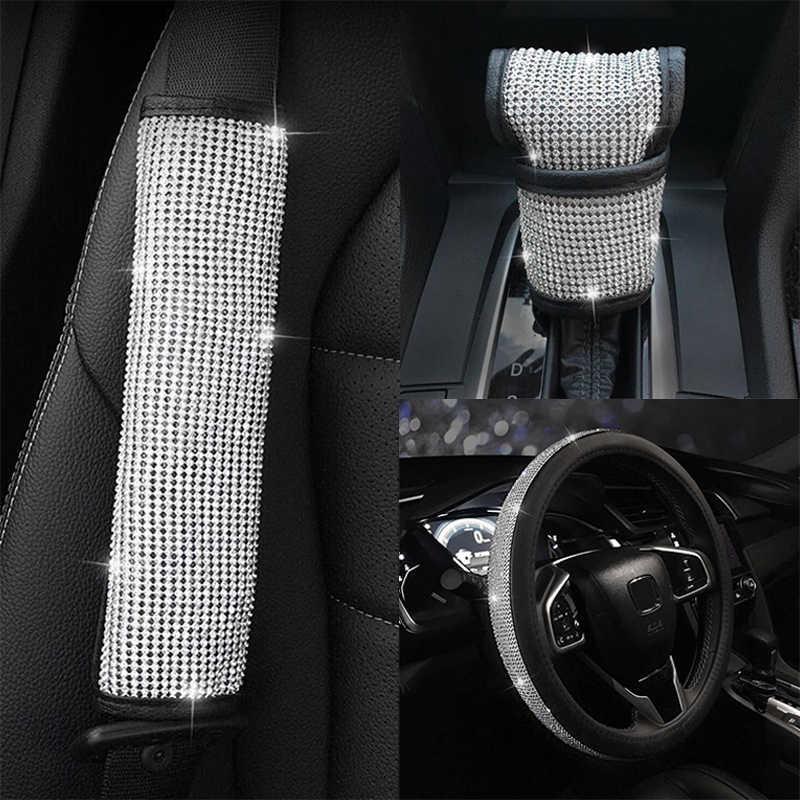 2019 neue Auto Lenkrad Abdeckung Getriebe Schulter Abdeckungen 3 Arten Auto Zubehör PU & Strass Universal Autos Innen Dekoration