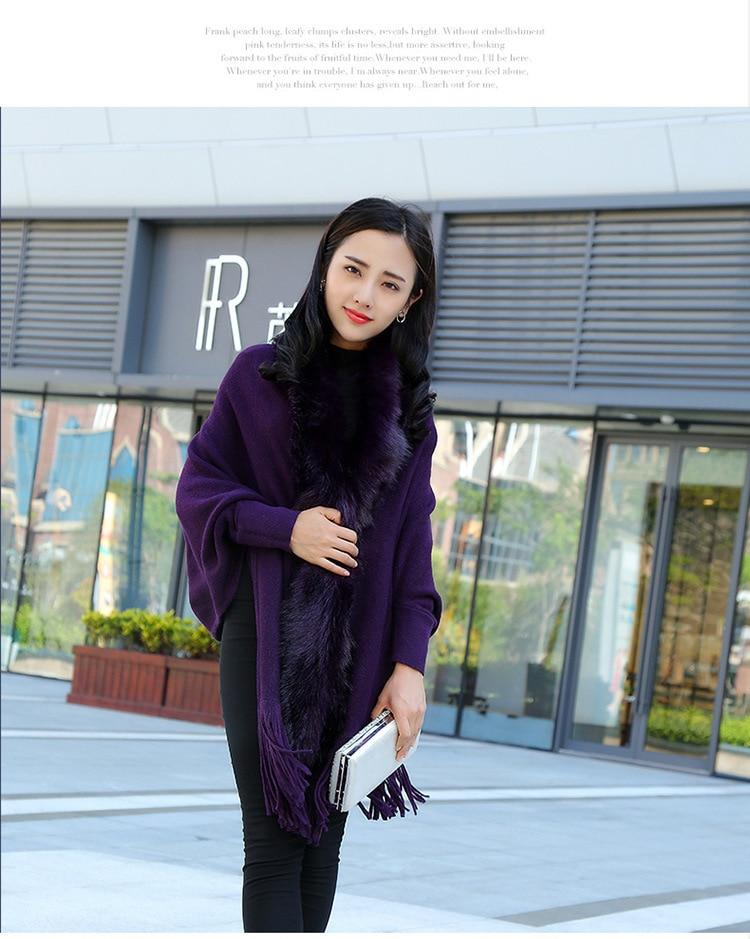 Faux Fur Collar Shawl Cardigan Tassel Winter Warm Coat 50