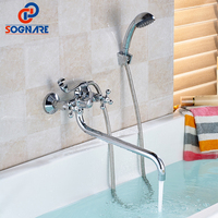 SOGNARE 1 Set 350mm Outlet Pipe Bath Shower Faucet Wall Mounted Bathroom Bathtub Mixer Hot And