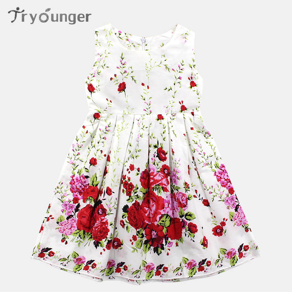 Girls Dresses Floral Dresses Kids Sleeveless Dresses For Girls Casual Clothes For Teenage Girls Of 5 6 8 10 11 12 13 Years Old girls dresses fruit design pineapple orange dress summer kids clothes flower print for kids age 5678910 11 12 13 14 years old