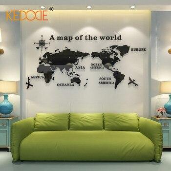 KEDODE стены книги по искусству деко мира географические карты акрил стерео стикеры дома Гостиная Кабинет офис задний план стены творчески