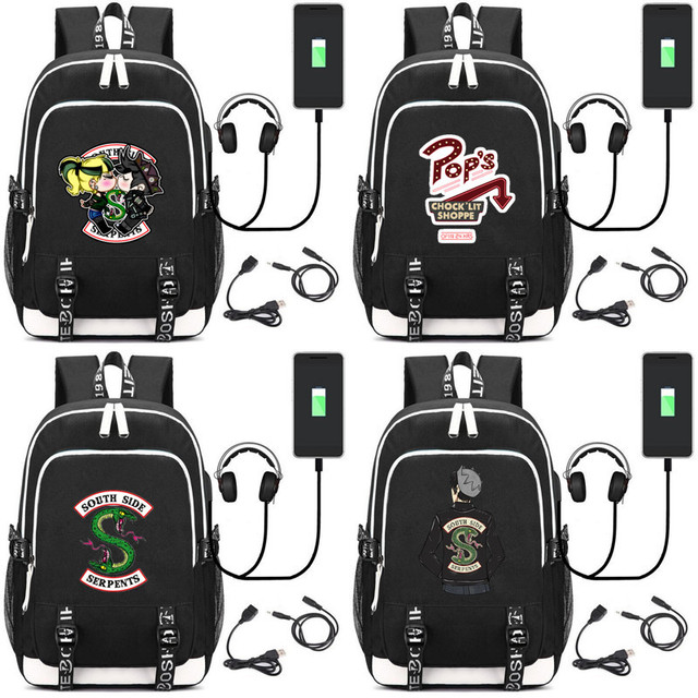 a708128ddf Riverdale South side serpents Backpacks kid s USB Charging school bag Men  women mochila shoulder bag travelling laptop bagpack