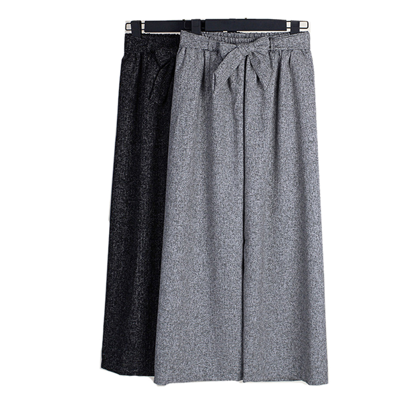 Fashion Linen Pants Women Bow Sashes Decoration Loose Casual Wide Leg Pants Stretched Trousers