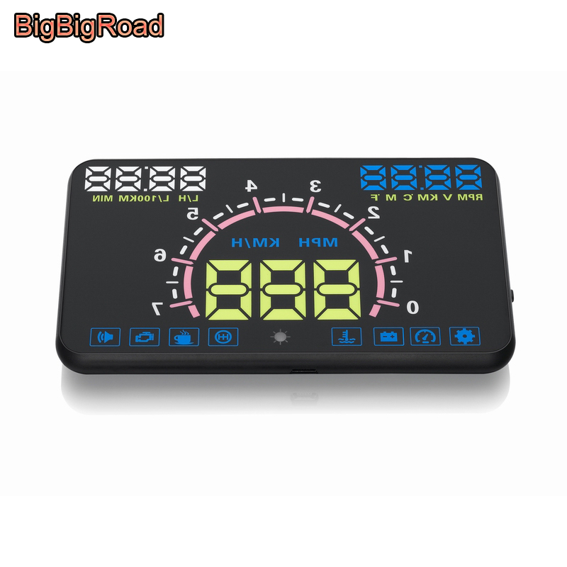BigBigRoad Car HUD Head Up Display Windscreen Projector OBD2 Port For Mitsubishi Triton L200 L300 Outlander Sport ASX RVR Pajero bigbigroad car obdii 2 hud head up display windscreen projector for mitsubishi asx mirage triton outlander montero lancer
