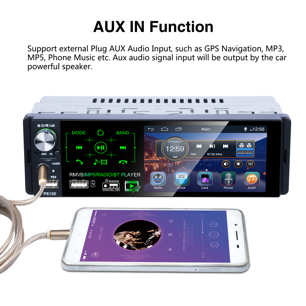 """Image 4 - Podofo Car Radio 4.1"""" HD Autoradio Multimedia Player 1DIN Touch Screen Auto audio Car Stereo MP5 Bluetooth RDS Dual USB Micphone-in Car Radios from Automobiles & Motorcycles"""