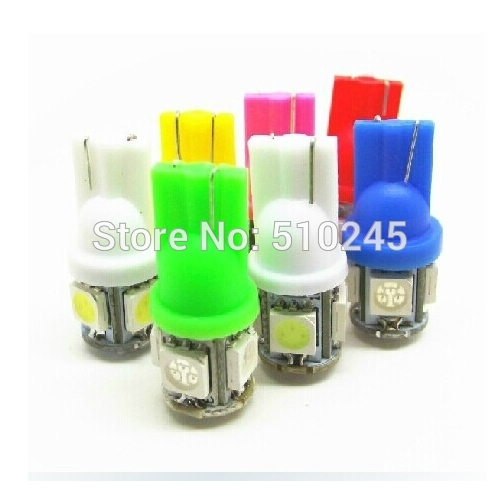100X Free shipping Auto Car LED light T10 194 W5W 5 led smd 5050 Wedge LED Bulb Lamp 5SMD White Green ICE Blue Red Yellow PINK