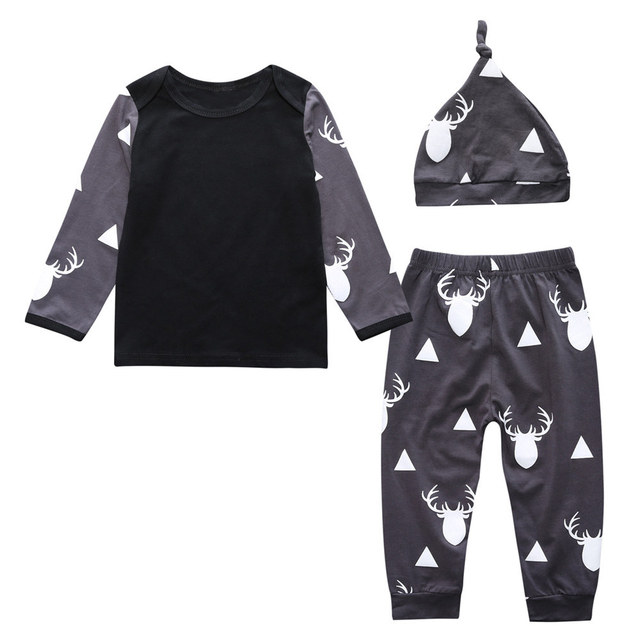 c49f8e9bf4e Newborn Baby Boy Deer Tops T-shirt+Leggings Pants Hat 3PCS Outfit Sets  Clothes Infant Baby Boy Girl Christmas Clothing Set