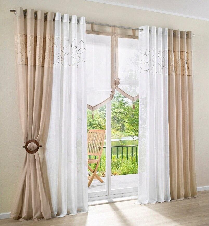 Personalizados bordados equipo algod n balc n semi sombras ventana cortina escarpada en cortinas - Visillos para salones ...