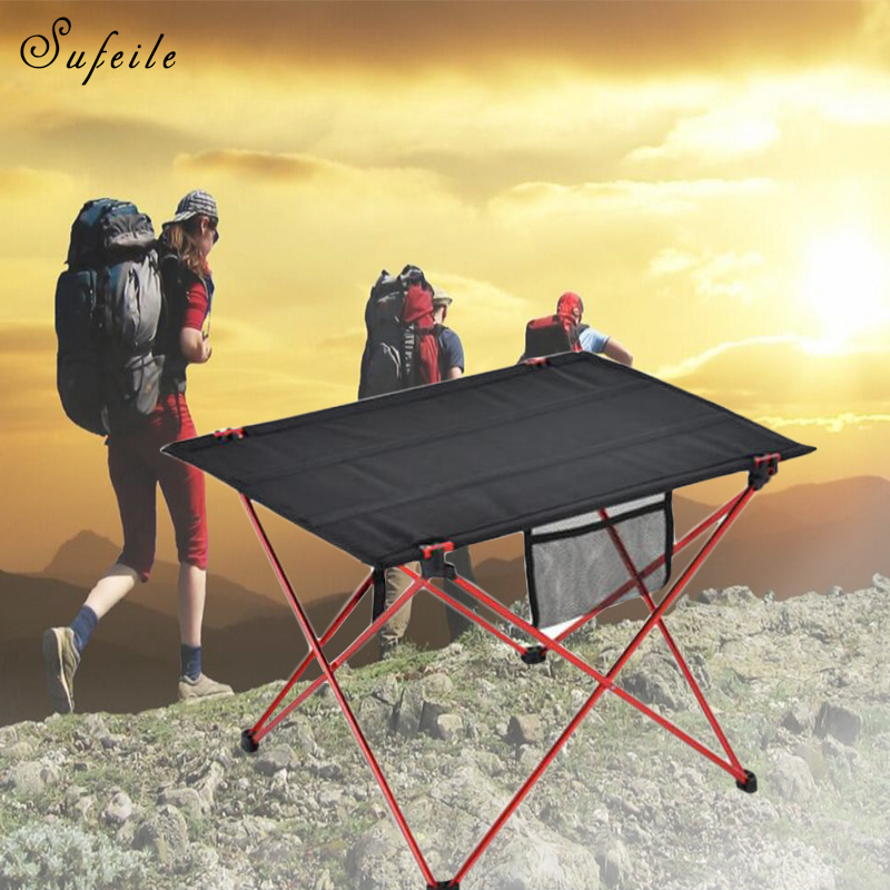 SUFEILE Outdoor Portable Folding Table Small Camping Picnic Table Outdoor Casual Barbecue Aluminum Alloy Oxford Table D20 aluminum alloy magic folding table blue black bronze color poker table magician s best table stage magic illusions accessory