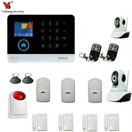 Yobang Security WIFI Home Security Burglar Alarm Systerm Kit IOS Android APP Control Video ip camera outdoor siren pir sensor smartyib whole home alarm systerm business security alert with ios