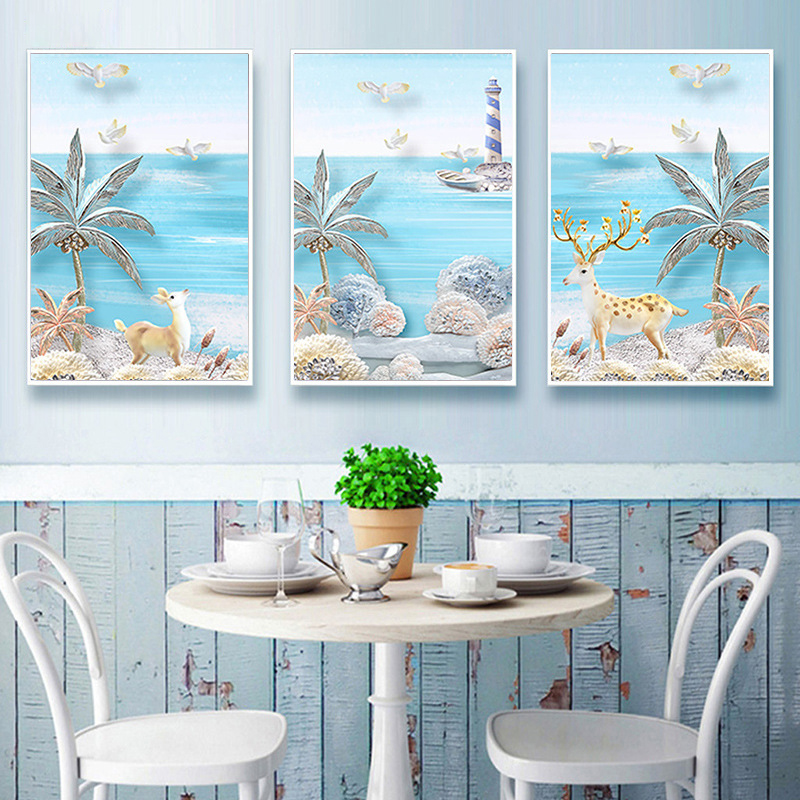 HAOCHU Hawaii Island Tropical Palm Seascape Lighthouse Cartoon Canvas Painting Wall Picture for Kids Room Decor No Frame