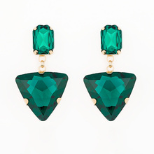 2016 hot new selling fashion jewelry Long design tassel triangle glass rhinestone big drop earring for women #E018(China)