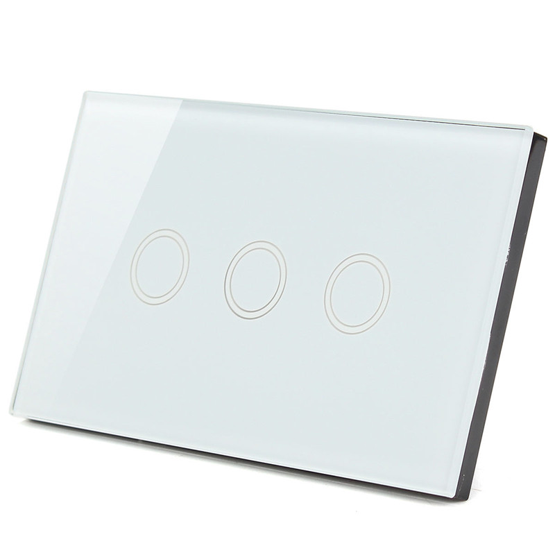 US standard, Wall Switch, Black White Gold Glass Panel, AC 110V-240V, LED indicator, 3 Gangs 3 Way Touch Control Light Switch us standard touch remote control light switch 3gang1way black pearl crystal glass wall switch with led indicator mg us01rc