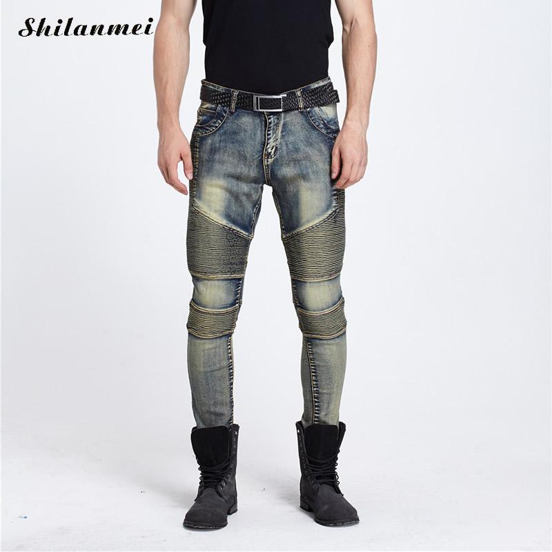 Motorcycle Men Jeans 2017 Denim Zipper Ripped Jeans Men Hip Hop Punk Distressed Skinny Jeans Calca Masculina Pantalon Homme