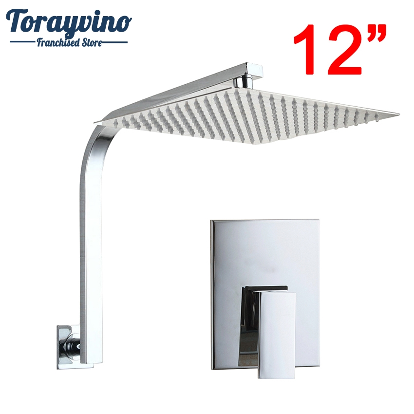 Torayvino Brass Rainfall 12shower Head Rainfashion Ultra-thin Panel Wall Mounted Shower Faucet Shower Chrome Mixer Tap Clients First Shower Faucets