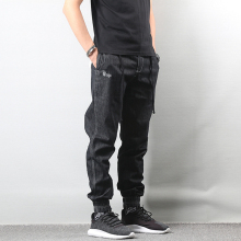 Japanese Style Fashion Men Jeans Vintage Black Color Loose Fit Cargo Pants hombre American Streetwear Hip Hop Joggers