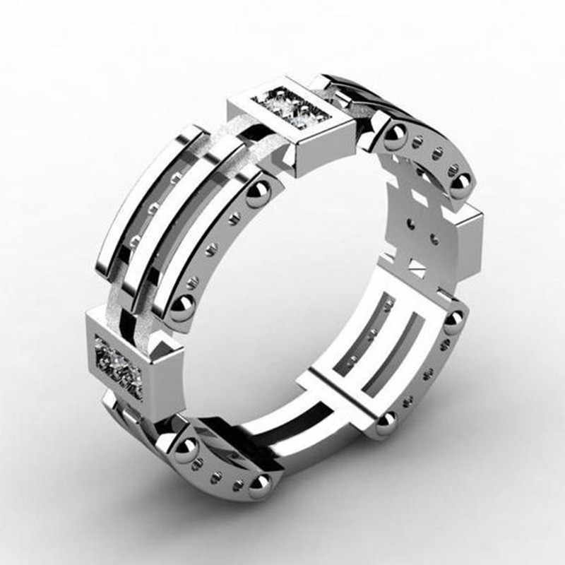LETAPI 925 Sterling Silver Men Punk Fashion Color Brand Silver AAA+ CZ Stone Wedding Ring for Men Dropshipping