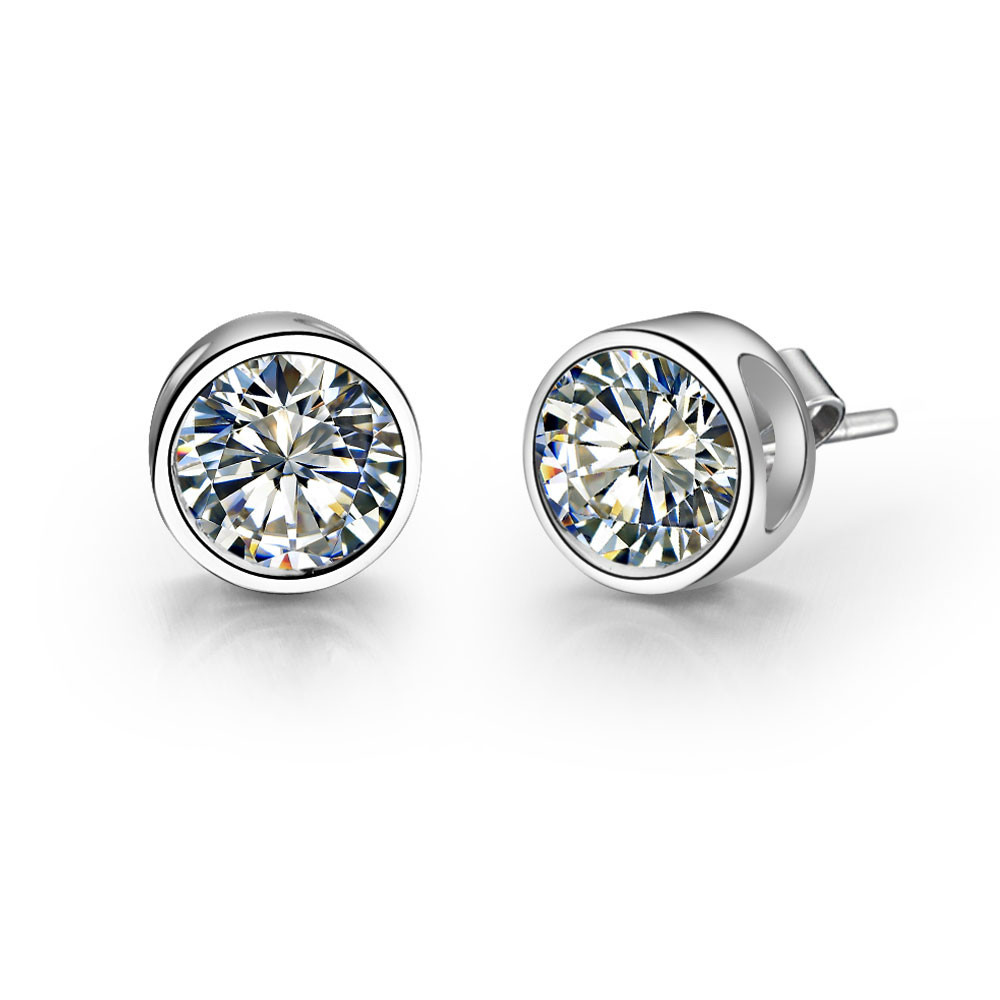 Simulate Stud-Earrings Diamond Solid-Sterling-Silver Jewelry Women for High-Quality Wedding-Bridal