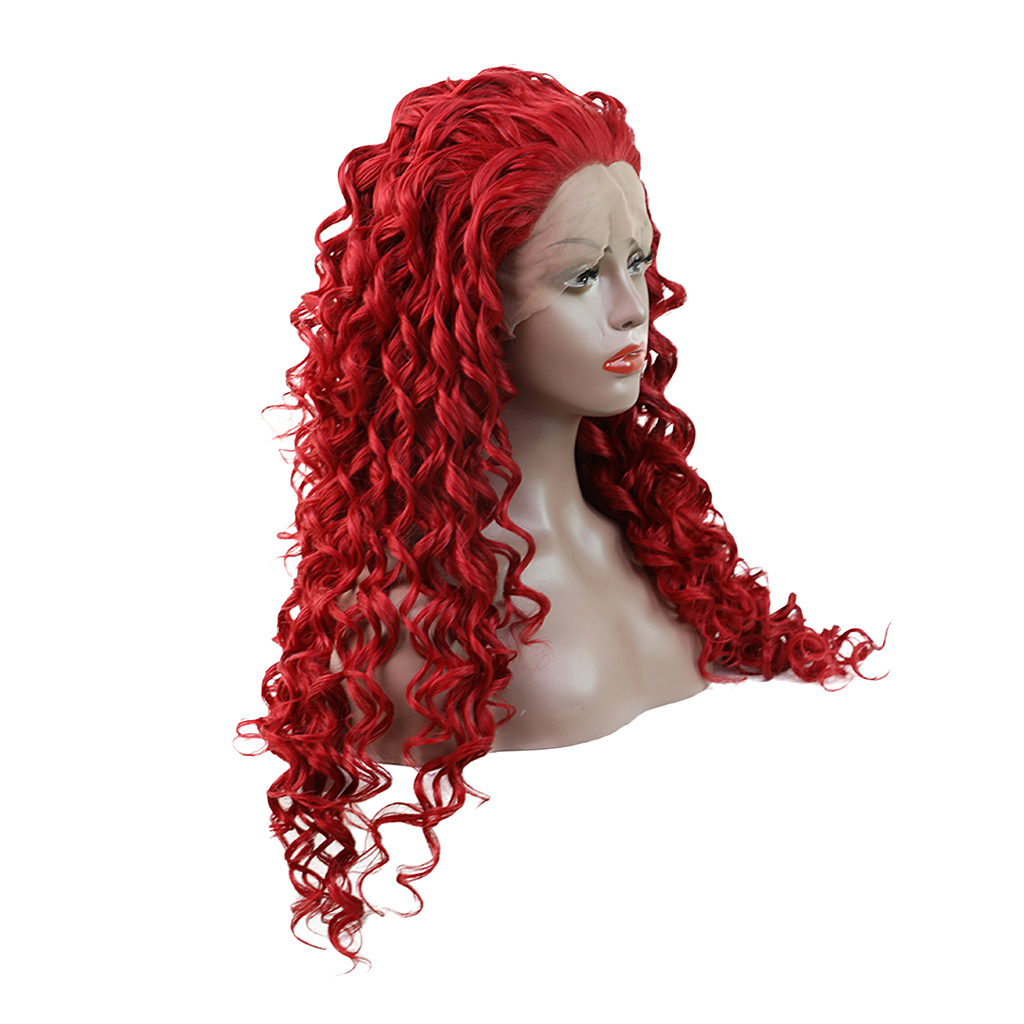 20 Inch Lace Front Long Curly Full Wig Heat Resistant Synthetic Hair Wigs Red стоимость