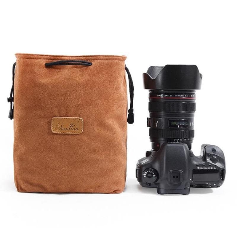 2019 New Five-color Optional Retro Simple SLR Camera Lens Canvas Bag Storage Bag Lens Shockproof Lens Tube Digital Camera Bags