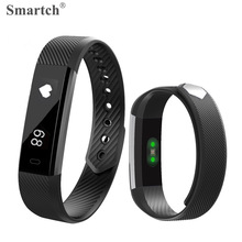 Smartch ID115 HR Bluetooth Smart Браслет, 0.86 'Экран, фитнес-трекер, шагомер, Монитор сердечного ритма браслет, Мода Smart Band