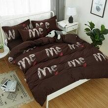 Classic bedding set 5 size Stripe heart black bed linen 4pcs/set duvet cover Pastoral sheet AB side 2019