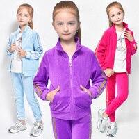 Spring Autumn Girls Clothes Zipper Kids Jacket Pants Velvet Tracksuit For Girls Sport Suit Casual Children