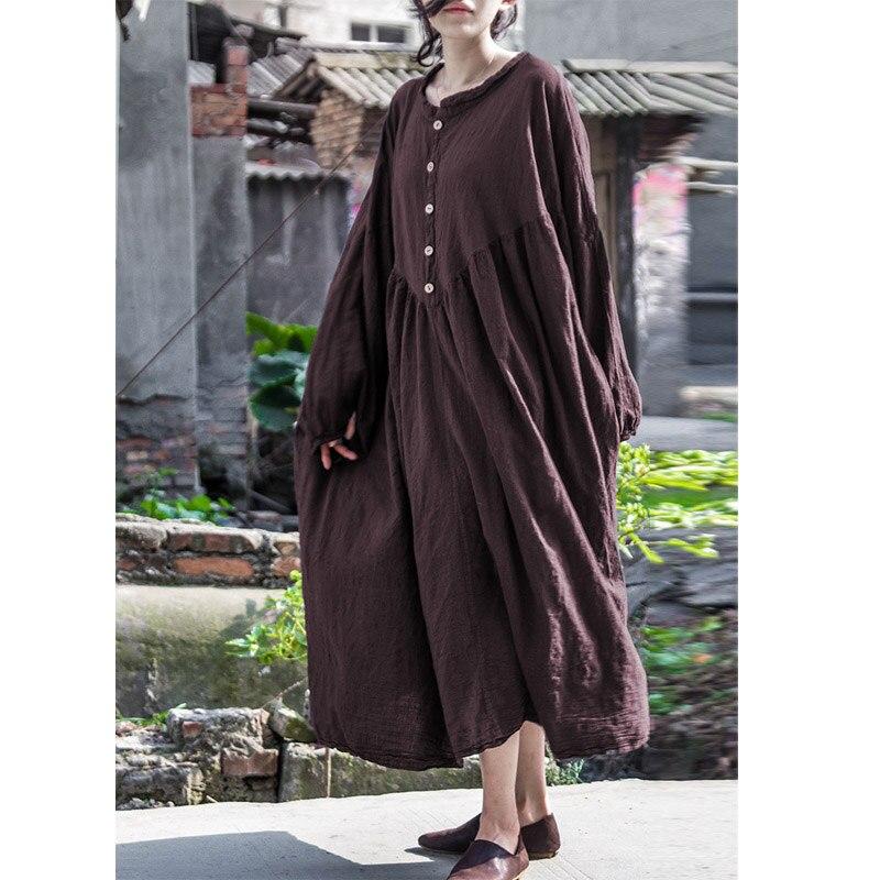 SCUWLINEN 2019 Women Autumn Dress Vintage Stand Collar Lantern Sleeve Plus Size Long Linen Dress Women Casual Robe B103001SXY-in Dresses from Women's Clothing    2