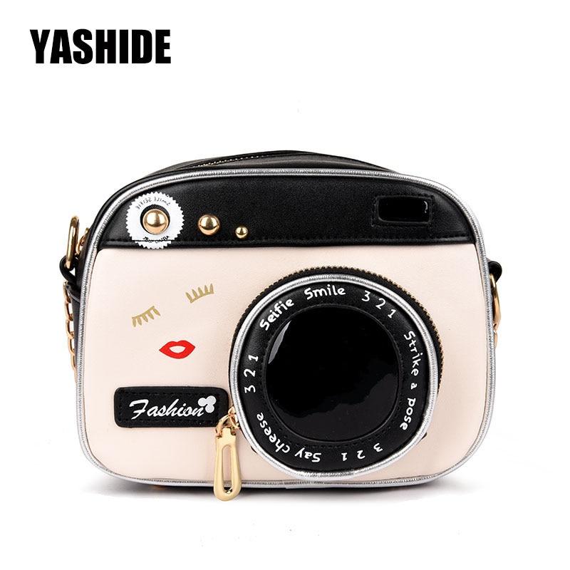 YASHIDE Personalized fashion lovely camera design unique shape clutch women shoulder bag ladies casual small messenger bag purse