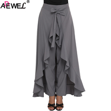 ADEWEL 2019 Elegant Culotte Black Gray Chic Chiffon Women Maxi Skirt & Pants Tie Waist Ruffle Skirted Palazzo Pants Solid XXL недорого